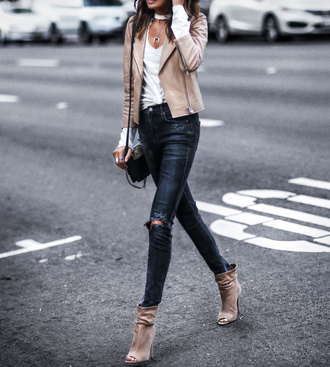 fashionedchic blogger jeans jacket shoes ankle boots shoulder bag leather jacket fall outfits