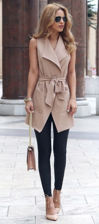 coat brown nude solid solid colors fall outfits fashion sleeveless sleeveless coat
