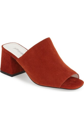 shoes suede shoes mules red shoes mid heel sandals suede mule