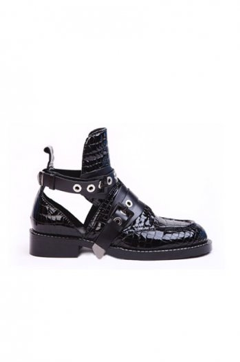 Punk style bootupper black sandals [as0139]