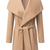 Khaki Lapel Long Sleeve Belt Woolen Coat - Sheinside.com