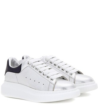 metallic sneakers leather silver shoes
