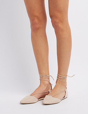 Lace-Up Pointed Toe Flats: Charlotte Russe