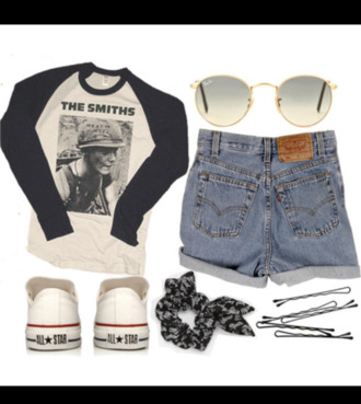 shirt converse high waisted shorts baseball tee glasses the smiths