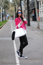 fashion vibe,shoes,jeans,sweater,jewels,jacket,bag,sunglasses,belt,fur keychain,bag accessories,blogger,mirrored sunglasses,pink jacket,suede jacket,white sweater,black jeans,white bag,handbag,sneakers,black sneakers,high top sneakers,high top converse,black converse,converse,fall outfits,back to school