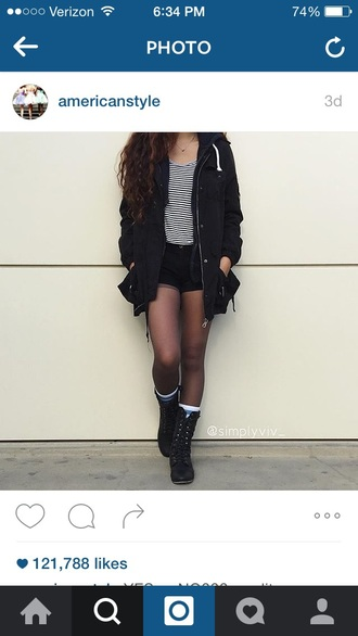 jacket black white top cute shirt shorts tights boots black and white stripes striped top fall outfits fall jacket cute outfits short shorts combat boots