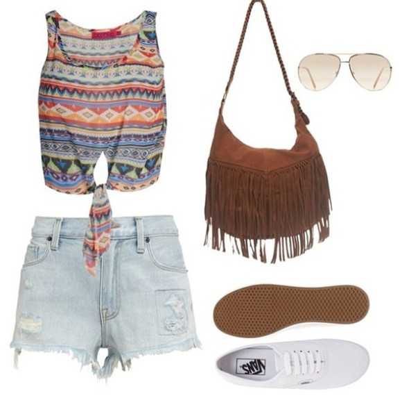 vans aztec bag summer tshirt tank top pattern colorful sunglasses denim shorts