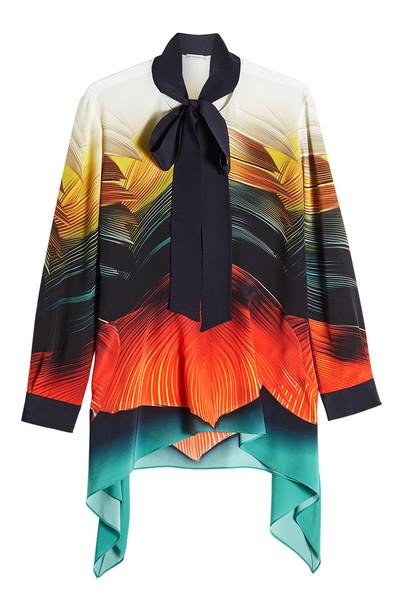 Mary Katrantzou Printed Silk Crepe Top with Asymmetric Hem