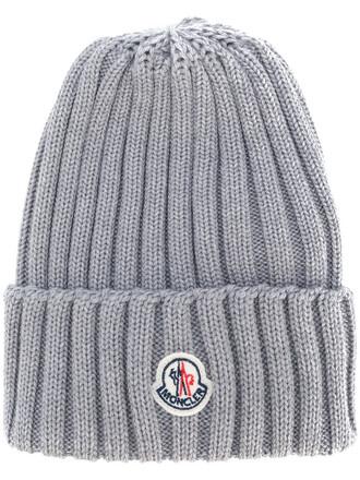 women classic hat beanie knitted beanie wool grey