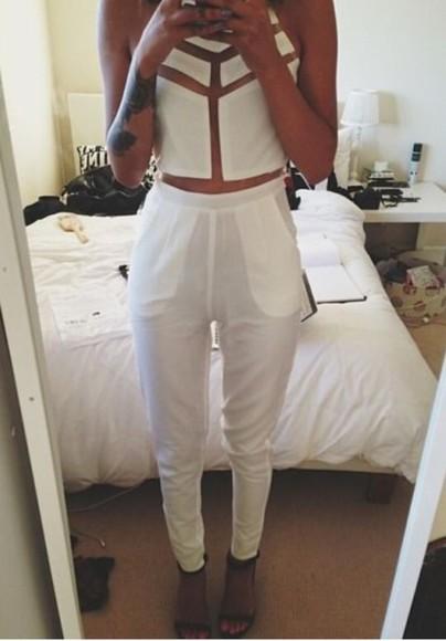 white jeans white white crop tops white crop top