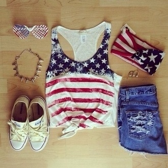 hat blouse shorts shoes sunglasses tank top america american american flag bandeau short converse america top american top top shirt necklace