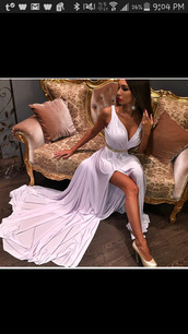 dress,white dress,leg slits,gold belt,v neck dress,prom dress