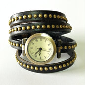 jewels,wrap watch,watch,leather watch,studded,black,vintage style watch,freeforme