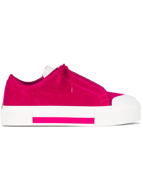 Alexander Mcqueen women sneakers platform sneakers leather cotton velvet purple pink shoes