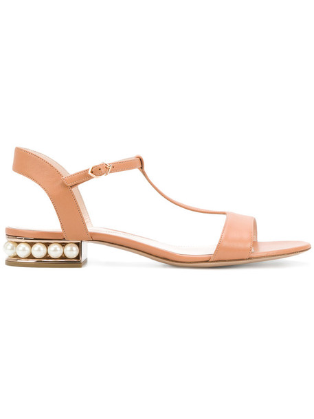 Nicholas Kirkwood women pearl sandals leather yellow orange shoes