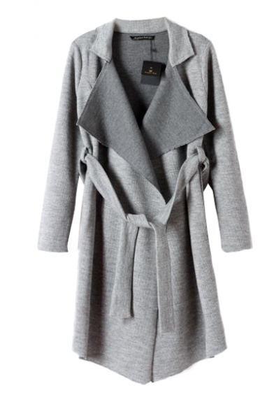 Fahionable oversized lapel belted coat with asymmetric hem