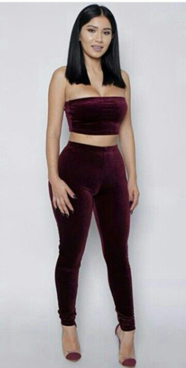 jumpsuit burgundy s?ede legg?ng? crop tops bandeau velvet leggings two piece pantsuits pants
