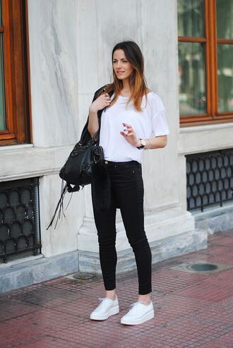 shoes white shirt black jeans black bag white sneakers blogger