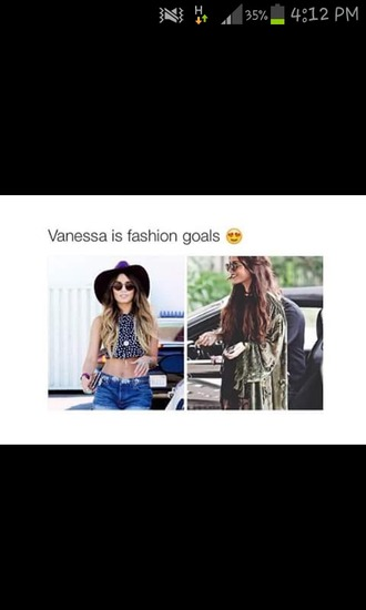 shirt venessa crop tops floppy hat sunglasses