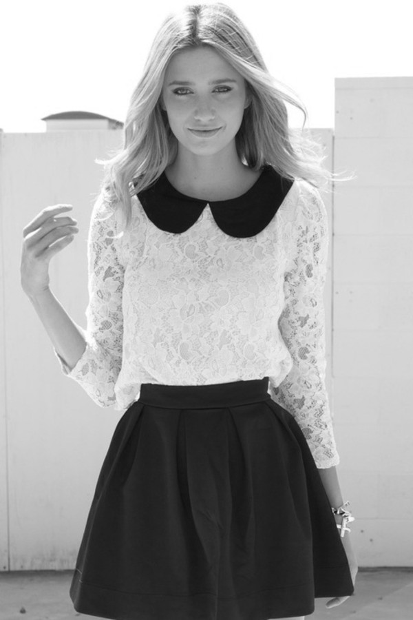 blouse lace skater skirt collar lace blouse black and white shirt white black white lace white lace shirt skirt uniform blouse black skirt white blouse peter pan collar cute girly girl girly girl black white lace shirt long sleeved cream dress peter pan collar dress tights t-shirt collared dress fashion beautiful