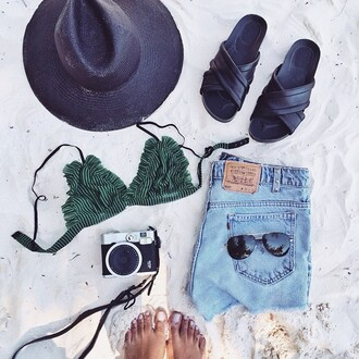swimwear green bikini stripes white ruffle
