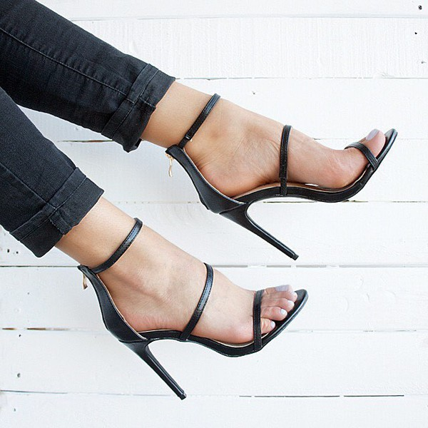 Strappy Life Single-Sole Heels BLACK NEONCORAL NEONYELLOW COBALT ...
