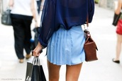 skirt,blue,plissed skirt,bag,blouse,ligt blue laced skirt