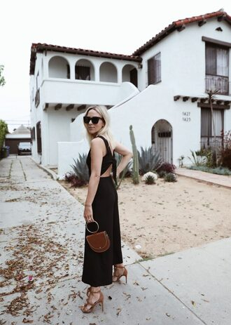 jumpsuit black jumpsuit tumblr bag handbag sandals sandal heels high heel sandals sunglasses open back backless