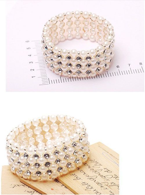Multilayer Pearl Stretch Bracelet Crystal Bracelet Wide - DualShine