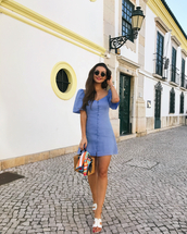 shoes,dress,mini dress,short dress,blue dress,sandals,slide shoes,white slidess,sunglasses