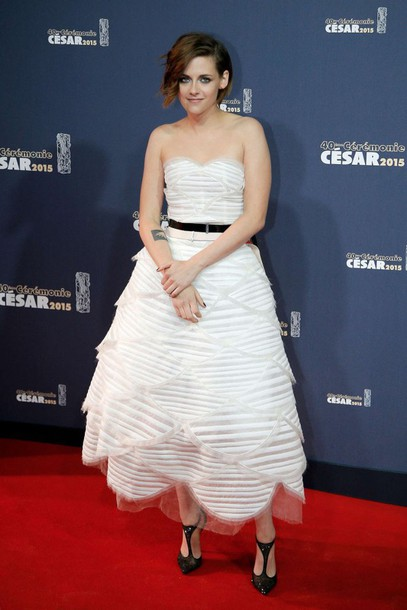 dress red carpet dress gown kristen stewart strapless bustier pumps shoes