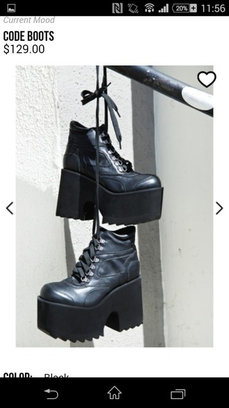 shoes black boots goth shoes rock 90's grunge style dress