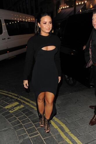 shoes black dress bodycon dress demi lovato sandal heels sandals dress