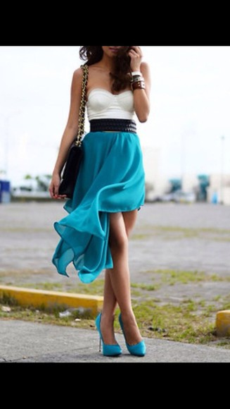 dress high-low dresses cute dress high heels teal dress blue high heels crop-tops
