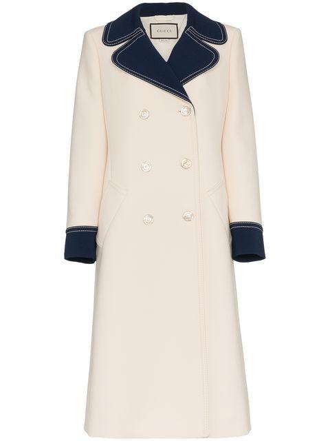 Gucci Double Breasted Bi Colour Wool Coat - Farfetch