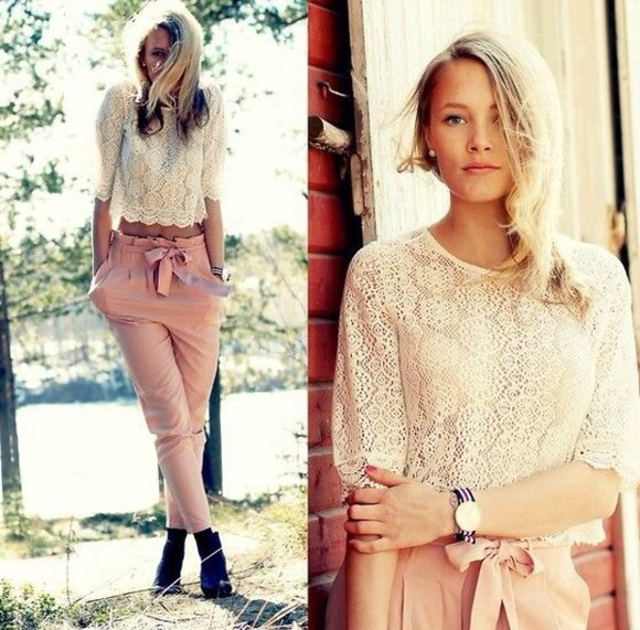 beige top crochet delicate got to have crop tops long sleeves tied belt oversized loose pleated khaki pants blush pink sophia bush lace pink