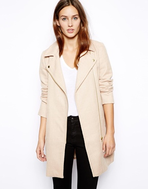 Oasis | Oasis Neutral Biker Coat at ASOS