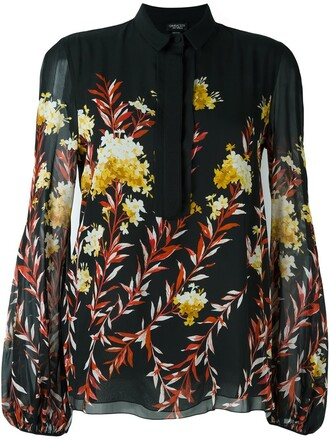 blouse floral print black top