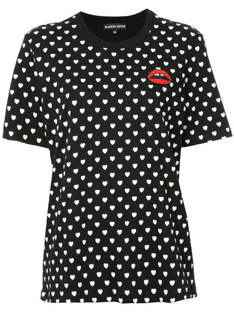 t-shirt shirt t-shirt heart women cotton print black top