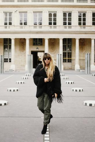 fringe and frange blogger jumpsuit shoes cardigan bag