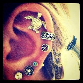 jewels earings turtle cute peace sign ear cuff