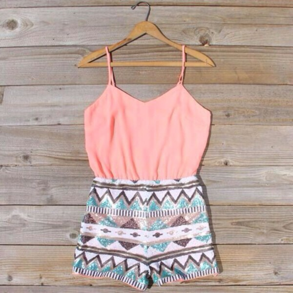 romper cute romper grey aztec coral dress gliter pants coral girl tribal pattern girly summer shorts tribal pattern tank top