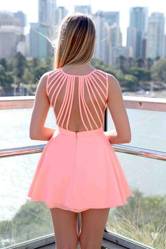dress ustrendy ustrendy dress lattice back lattice back dress coral dress skater dress coral