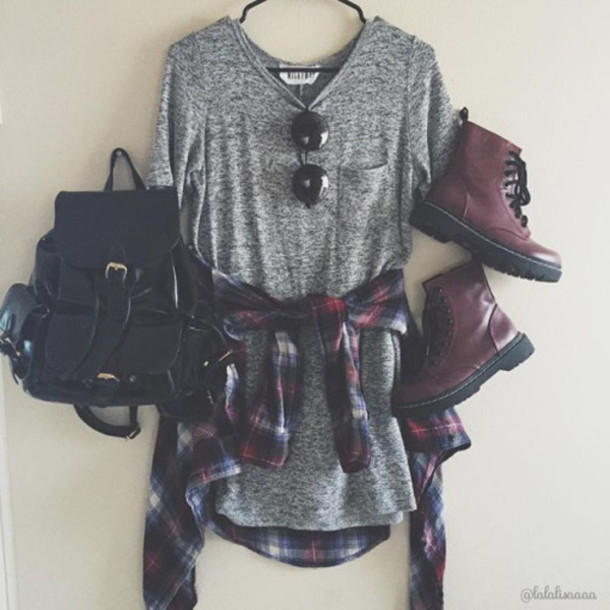 dress,boots,bag,glasses,grey,black,grunge,pale,tumblr,outfit,backpack,dressshirt,shirt