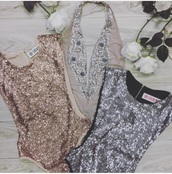 top,silver,sequins,bodysuit,gold,pretty,prom,love,need
