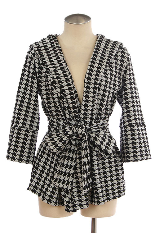 Houndstooth Patterned Waist Tie Jacket