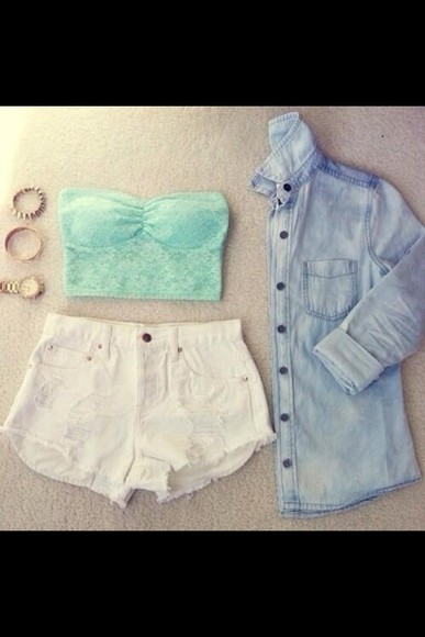mint shirt lace croptop denim white