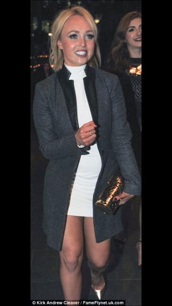 jacket hollyoaks style leather jacket blazer white dress tweed plaid jacket night dress nice jacket