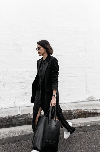 modern legacy blogger shirt dress jacket bag shoes black bag givenchy bag givenchy all black everything black dress minimalist coat tumblr black coat black shirt shirt dress maxi dress long dress tote bag sunglasses sneakers