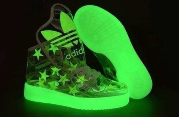 shoes glow in the dark green weed amazing adidas fluo